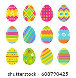set of vector colorful easter... | Shutterstock .eps vector #608790425