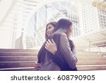 beautiful woman and her friend... | Shutterstock . vector #608790905