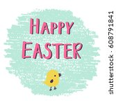 easter greeting card with hand... | Shutterstock .eps vector #608791841