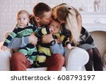 happy family portrair mother... | Shutterstock . vector #608793197