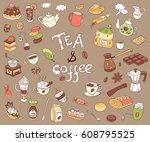 big collection of doodle tae... | Shutterstock . vector #608795525