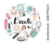 beauty sketch background. hand... | Shutterstock . vector #608795615