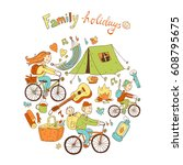 round illustration with... | Shutterstock . vector #608795675