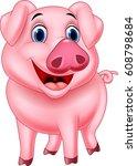 Stock vector cartoon pig character 608798684