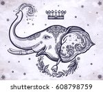 decorative vector elephant with ... | Shutterstock .eps vector #608798759