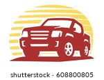 emblem pickup silhouette vector ... | Shutterstock .eps vector #608800805