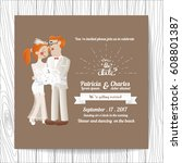 wedding invitation card... | Shutterstock .eps vector #608801387