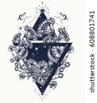 flowers in a triangle tattoo... | Shutterstock .eps vector #608801741