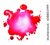 Small photo of Watercolor pink spot blot blob isolated macro photo