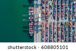aerial top view container cargo ... | Shutterstock . vector #608805101