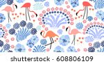 tropical garden. seamless... | Shutterstock .eps vector #608806109