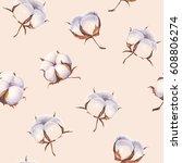 cotton flower eco buds balls... | Shutterstock . vector #608806274