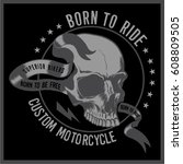vintage biker graphics and... | Shutterstock .eps vector #608809505