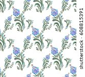 seamless pattern with floral... | Shutterstock .eps vector #608815391