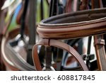 close up of horse bridles on... | Shutterstock . vector #608817845