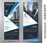 business roll up. standee... | Shutterstock .eps vector #608818499