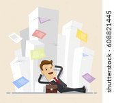carefree businessman have a... | Shutterstock .eps vector #608821445