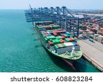 container ship in export and... | Shutterstock . vector #608823284