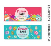 easter sale banner template... | Shutterstock .eps vector #608825495