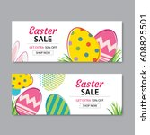 easter sale banner template... | Shutterstock .eps vector #608825501