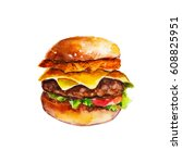 hamburger with hash brown and... | Shutterstock . vector #608825951