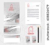 corporate identity template... | Shutterstock .eps vector #608826479