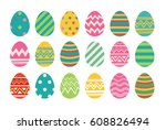 set of easter eggs flat design... | Shutterstock .eps vector #608826494