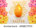 happy easter  greeting card    Shutterstock .eps vector #608827955