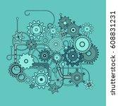 mechanical pattern composition. ...   Shutterstock .eps vector #608831231