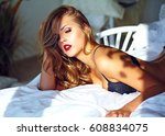 fashion portrait of beautiful... | Shutterstock . vector #608834075