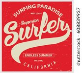 vintage surfing graphics and... | Shutterstock .eps vector #608839937