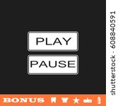 play and pause button icon flat.... | Shutterstock .eps vector #608840591