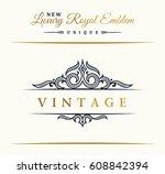 calligraphic luxury line logo....   Shutterstock .eps vector #608842394