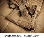 vintage army short pants and... | Shutterstock . vector #608842844
