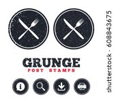 grunge post stamps. eat sign...   Shutterstock .eps vector #608843675