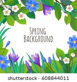 floral background. spring and... | Shutterstock .eps vector #608844011