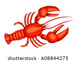 red lobster. isolated... | Shutterstock .eps vector #608844275