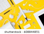 travel planning. airplane ... | Shutterstock . vector #608844851