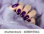 manicured violet nails nail... | Shutterstock . vector #608845061