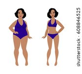 woman before and after weight...   Shutterstock .eps vector #608846525