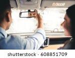visiting car dealership.... | Shutterstock . vector #608851709