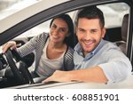 visiting car dealership.... | Shutterstock . vector #608851901