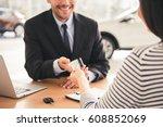 visiting car dealership....   Shutterstock . vector #608852069