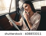 beautiful business woman is... | Shutterstock . vector #608853311