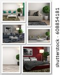collage of modern home interior.... | Shutterstock . vector #608854181
