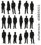 vector  people  set of black... | Shutterstock .eps vector #608854211