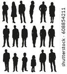 vector  people  set of black... | Shutterstock .eps vector #608854211