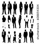 people  set of black and white ... | Shutterstock .eps vector #608854304