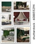 collage of modern home interior.... | Shutterstock . vector #608855294