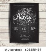 bakery menu design and bakery... | Shutterstock .eps vector #608855459